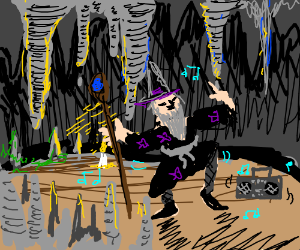 Wizard secretly dances in dark cave