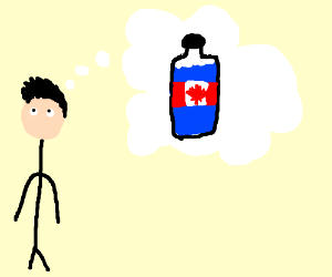boy thinks about canadian water bottle