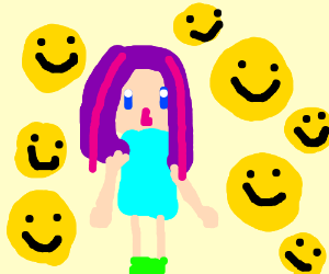 Girl with purple hair is surrounded withsmiles