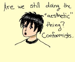emo dude says aesthetic..