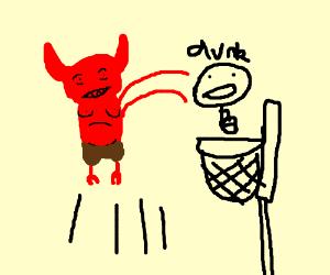 a devil doing a slam dunk