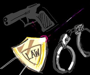 Gun, badge, and handcuffs