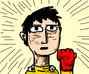 Saitama (OPM) with long hair and mustache - Drawception