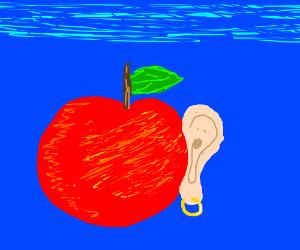 An apple with a human ear