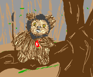 ewok in a tree holding an apple