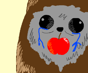 An Ewok eats an apple