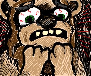 an ewok witnessing something horrible