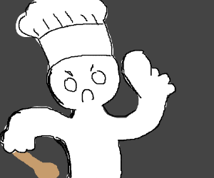 Frustrated chef with an extremely large thumb