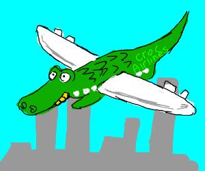 Crocodile w/airplane wings flies over a city