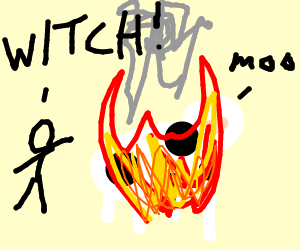 Cow Being Burned for Being a Witch