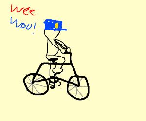 Shirtless Police Man on Bike