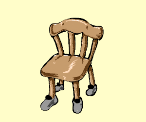 Chair With Shoes On Each Leg