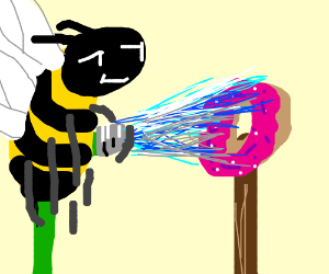 bumblebee washing a donut which is on a stick