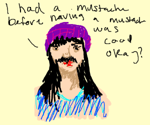 hipster girl with a mustache.