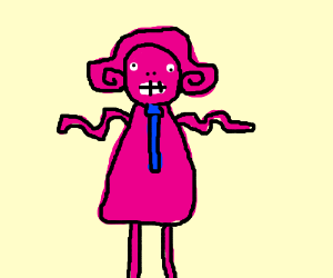pink girl and a blue tie