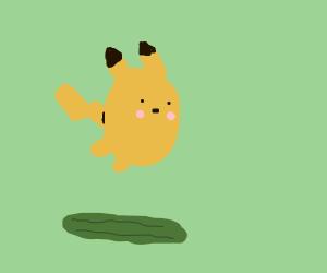 Picatchu jumps over cucumber.