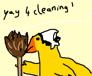 Yay for cleaning! says yellow duck