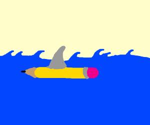 Pencil Across the sea ... A Shark!