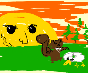The sun watching a duck get eaten by squirrel