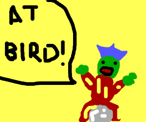 green king sits on a stone and screams @ bird