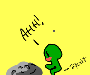 Green guy squatting at rock while shouting