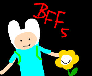 Finn makes friends with flowey