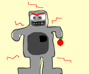 Angry robot with an apple