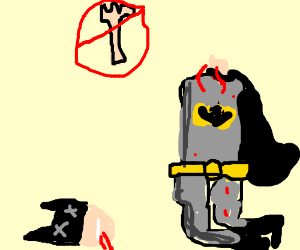 An armless batman gets his head punched off