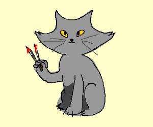 Grey Cat wielding two knives #edgy
