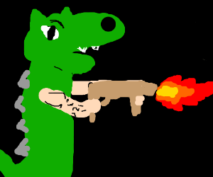 Dragon with Man arms shoots fire