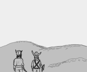 two vikings looking at a desert