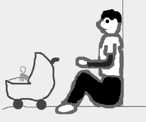 a b/w man sits in corner with baby carriage