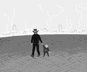 lonely old time man with baby