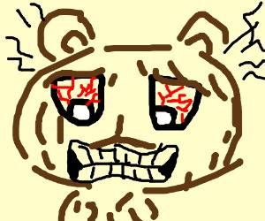 angry bear with bloodshot eyes