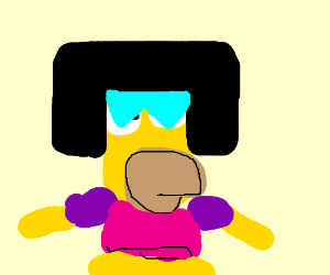 Homer Simpson cosplaying as Garnet