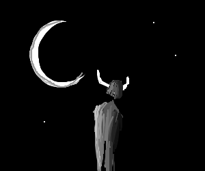 Man with Viking hat solemnly looks at moon