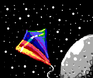 a kite, lost in outerspace
