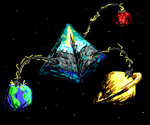 Giant space orgonite pyramid energizes planets