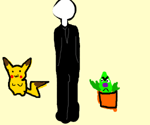 Pikachu, slenderman, and stinky the plant