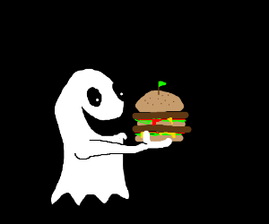 Ghost eating a triple-decker sandwich