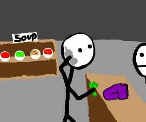 Buying clothes at soup store while on phone