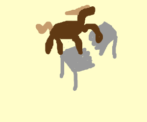 Horse standing on table, breaking it in half