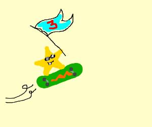 "Star rides a skateboard with a ""3"" flag"