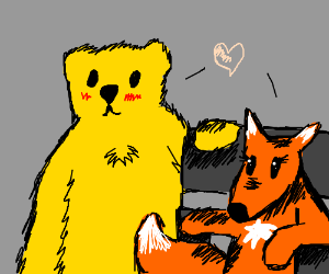 love between a yellow bear & a wheelchair fox