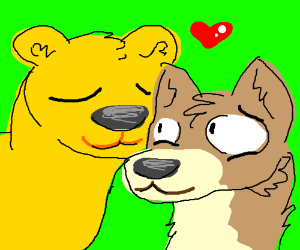 Yellow bear and fox love each other