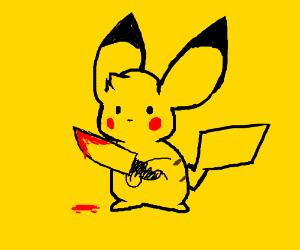 pikachu holding a knife