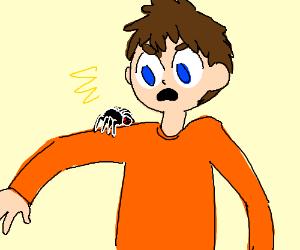 Spider on a guy's shoulder