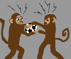 two monkeys fighting over a football