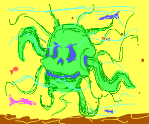 Green alien skull monster in a yellow ocean