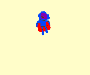 Blue man in blue shirt, red cape, purple mask